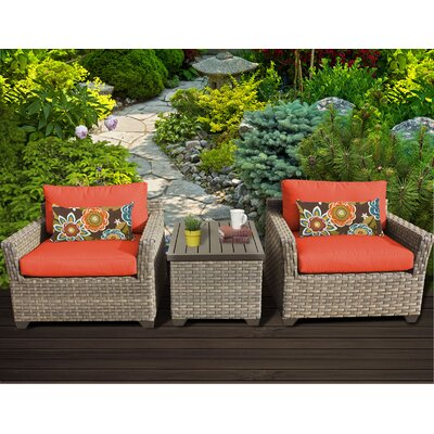 Monterey 3 Piece Lounge Seating Group with Cushion Fabric: Tangerine