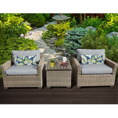 Monterey 3 Piece Lounge Seating Group with Cushion Fabric: Grey
