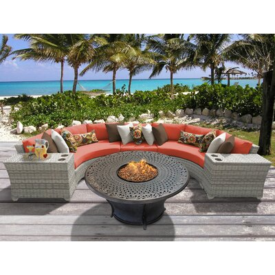 Fairmont 6 Piece Fire Pit Seating Group with Cushion Fabric: Tangerine