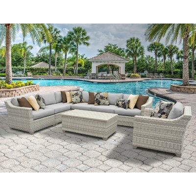 Fairmont 8 Piece Sectional Seating Group with Cushion Fabric: Gray