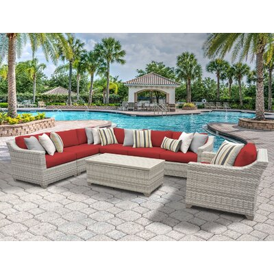 Fairmont 8 Piece Sectional Seating Group with Cushion Fabric: Terracotta