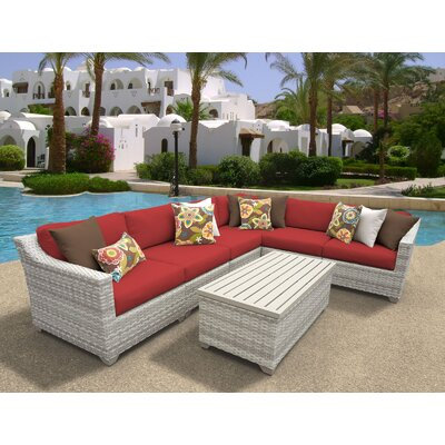 Fairmont 7 Piece Sectional Seating Group with Cushion Fabric: Terracotta