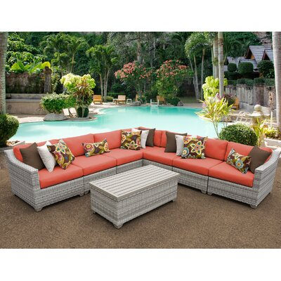 Fairmont 8 Piece Sectional Seating Group with Cushion Fabric: Tangerine