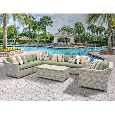 Fairmont 8 Piece Sectional Seating Group with Cushion Fabric: Cilantro