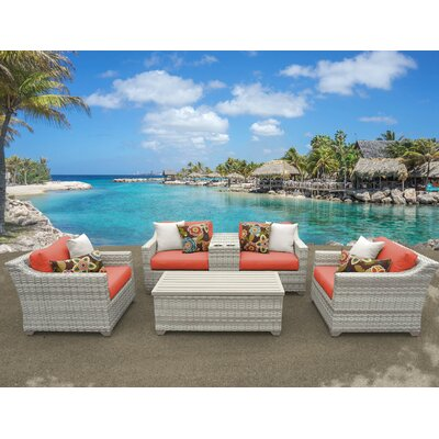 Fairmont 6 Piece Deep Seating Group with Cushion Fabric: Tangerine