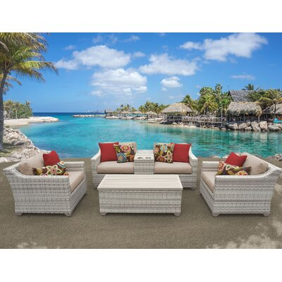 Fairmont 6 Piece Deep Seating Group with Cushion Fabric: Wheat