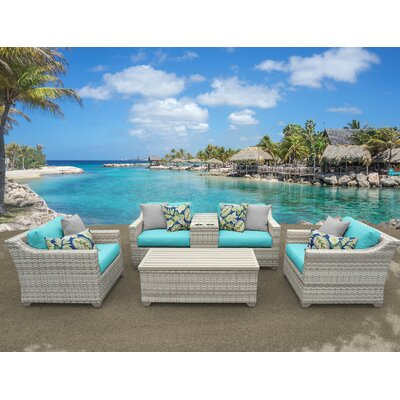 Fairmont 6 Piece Deep Seating Group with Cushion Fabric: Aruba