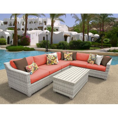 Fairmont 7 Piece Sectional Seating Group with Cushion Fabric: Tangerine
