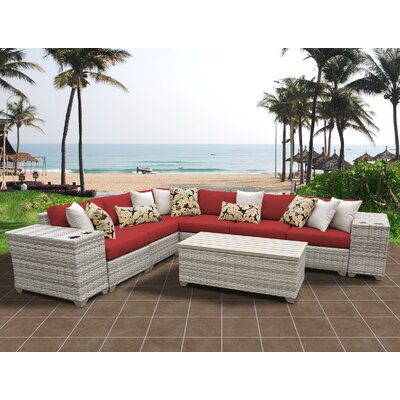 Fairmont 9 Piece Sectional Seating Group with Cushion Fabric: Terracotta