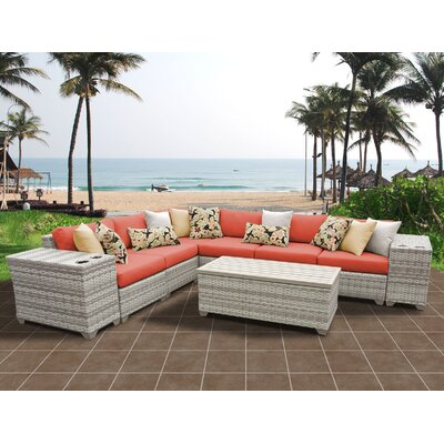 Fairmont 9 Piece Sectional Seating Group with Cushion Fabric: Tangerine