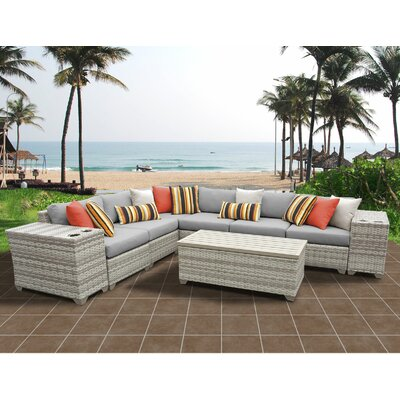 Fairmont 9 Piece Sectional Seating Group with Cushion Fabric: Gray