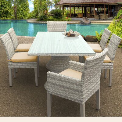 Fairmont 7 Piece Dining Set Cushion Color: Sesame