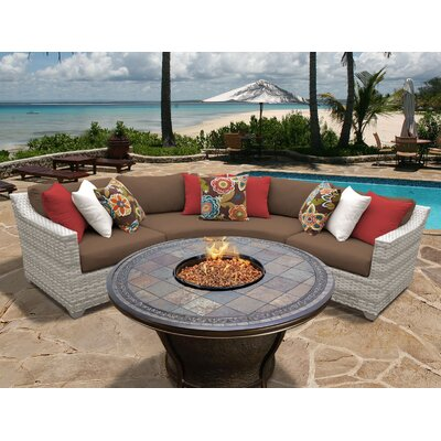 Fairmont 4 Piece Fire Pit Seating Group with Cushion Fabric: Cocoa
