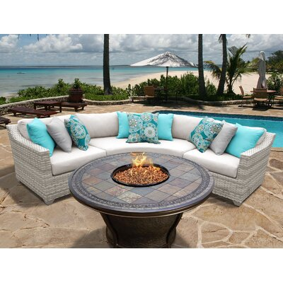 Fairmont 4 Piece Fire Pit Seating Group with Cushion Fabric: Beige