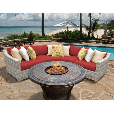 Fairmont 4 Piece Fire Pit Seating Group with Cushion Fabric: Terracotta
