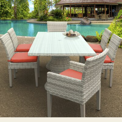Fairmont 7 Piece Dining Set Cushion Color: Tangerine
