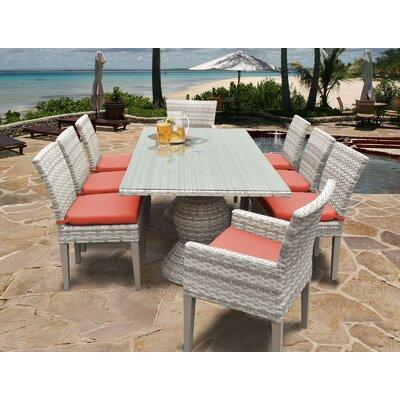 Fairmont 9 Piece Dining Set Cushion Color: Tangerine