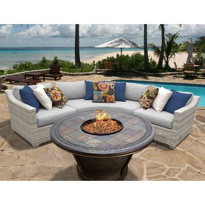 Fairmont 4 Piece Fire Pit Seating Group with Cushion Fabric: Gray