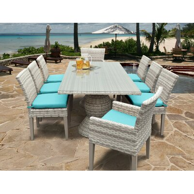 Fairmont 9 Piece Dining Set Cushion Color: Navy