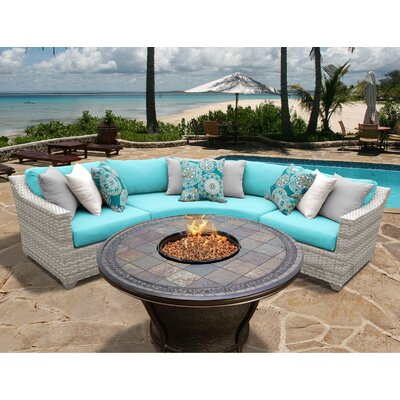 Fairmont 4 Piece Fire Pit Seating Group with Cushion Fabric: Aruba