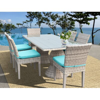 Fairmont 7 Piece Dining Set Cushion Color: Navy