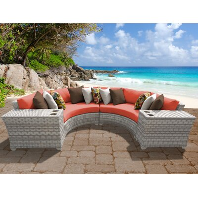 Fairmont 4 Piece Deep Seating Group with Cushion Fabric: Tangerine