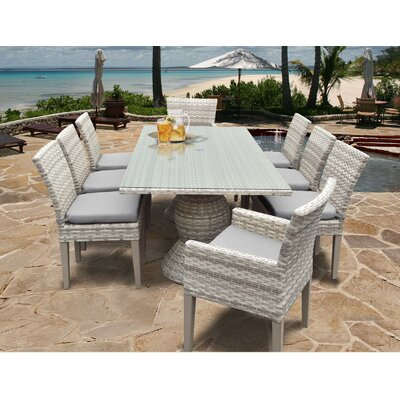 Fairmont 9 Piece Dining Set Cushion Color: Gray