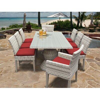 Fairmont 9 Piece Dining Set Cushion Color: Terracotta
