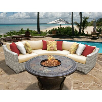 Fairmont 4 Piece Fire Pit Seating Group with Cushion Fabric: Sesame