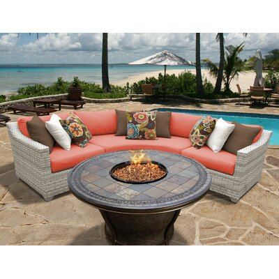 Fairmont 4 Piece Fire Pit Seating Group with Cushion Fabric: Tangerine