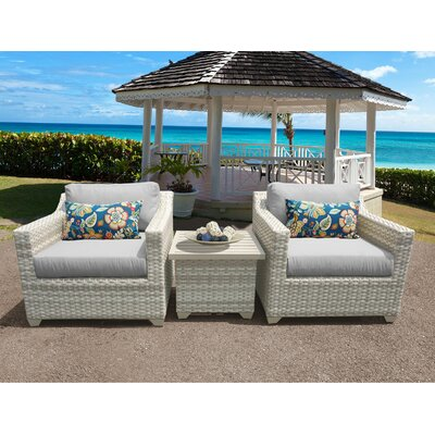 Fairmont 3 Piece Deep Seating Group with Cushion Fabric: Gray