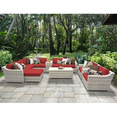 Fairmont 12 Piece Sectional Seating Group with Cushion Fabric: Terracotta