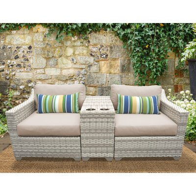 Fairmont 3 Piece Deep Seating Group with Cushion Fabric: Wheat