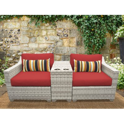 Fairmont 3 Piece Deep Seating Group with Cushion Fabric: Terracotta