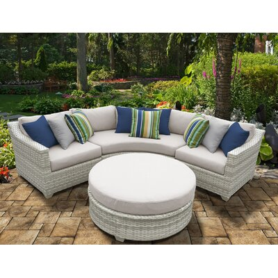 Fairmont 4 Piece Deep Seating Group with Cushion Fabric: Beige