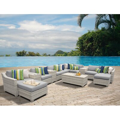 Fairmont 14 Piece Sectional Seating Group with Cushion Fabric: Gray