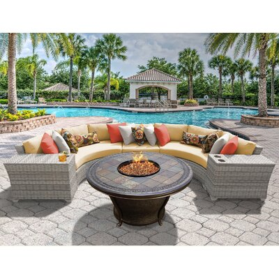 Fairmont 6 Piece Fire Pit Seating Group with Cushion Fabric: Sesame