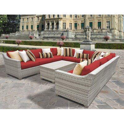 Fairmont 11 Piece Sectional Seating Group with Cushion Fabric: Terracotta