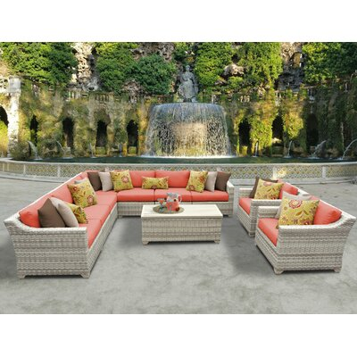Fairmont 10 Piece Sectional Seating Group with Cushion Fabric: Tangerine
