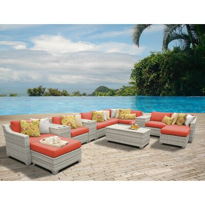 Fairmont 14 Piece Sectional Seating Group with Cushion Fabric: Tangerine