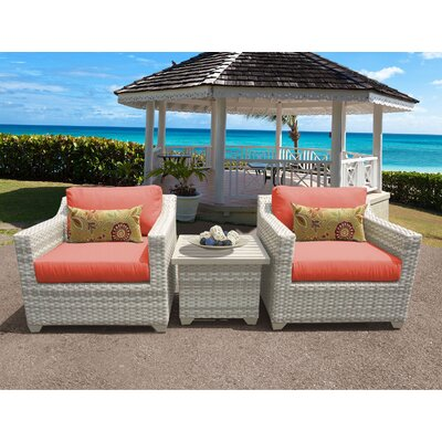 Fairmont 3 Piece Deep Seating Group with Cushion Fabric: Tangerine