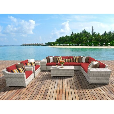 Fairmont 11 Piece Deep Seating Group with Cushion Fabric: Terracotta