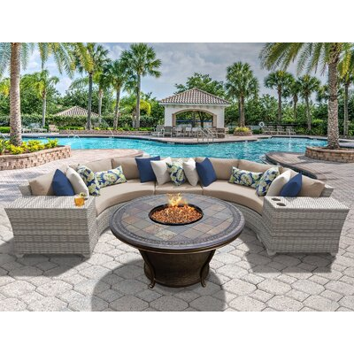 Fairmont 6 Piece Fire Pit Seating Group with Cushion Fabric: Wheat