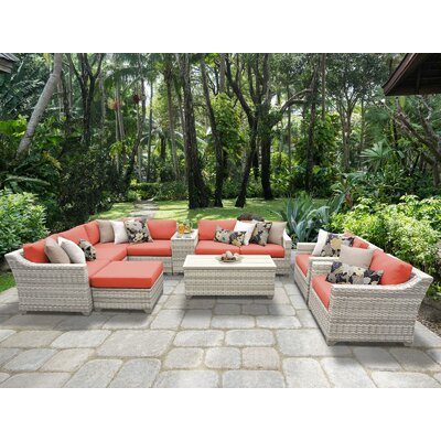 Fairmont 12 Piece Sectional Seating Group with Cushion Fabric: Tangerine
