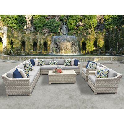 Fairmont 10 Piece Sectional Seating Group with Cushion Fabric: Gray