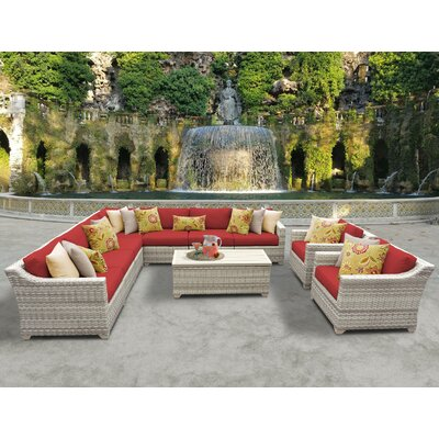 Fairmont 10 Piece Sectional Seating Group with Cushion Fabric: Terracotta