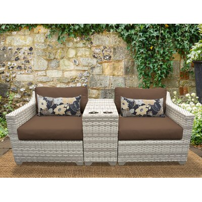 Fairmont 3 Piece Deep Seating Group with Cushion Fabric: Cocoa