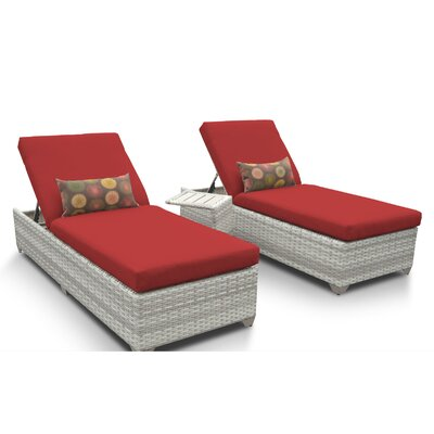 Fairmont 3 Piece Chaise Lounge Set with Cushion Fabric: Terracotta