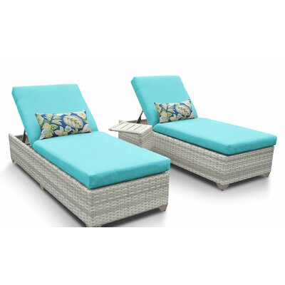 Fairmont 3 Piece Chaise Lounge Set with Cushion Fabric: Aruba
