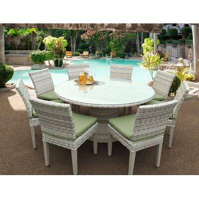Fairmont 9 Piece Dining Set Cushion Color: Cilantro